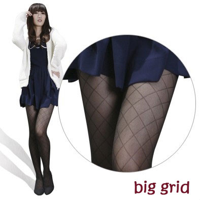 Sexy Black Cute Patterns Sheer Pantyhose Tattoo Pantyhose Mock Stockings Tights - Big Grid