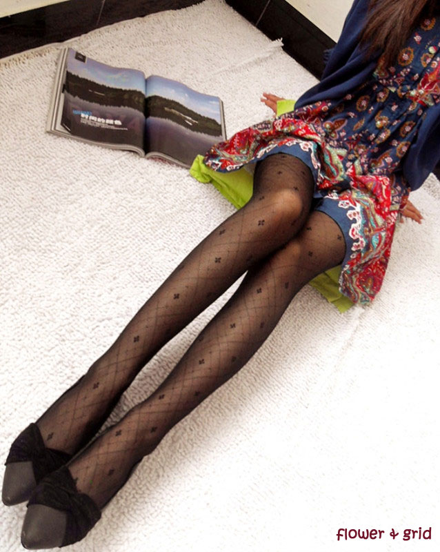 Sexy Black Cute Patterns Sheer Pantyhose Tattoo Pantyhose Mock Stockings Tights - Flower & Grid