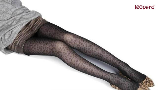Sexy Black Cute Patterns Sheer Pantyhose Tattoo Pantyhose Mock Stockings Tights - Leopard