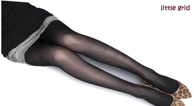 Sexy Black Cute Patterns Sheer Pantyhose Tattoo Pantyhose Mock Stockings Tights - Little Grid