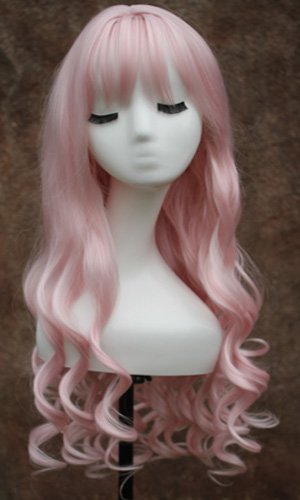 Sexy Long Wavy Curly Hairstyles With Bangs Cosplay Wig - Pink