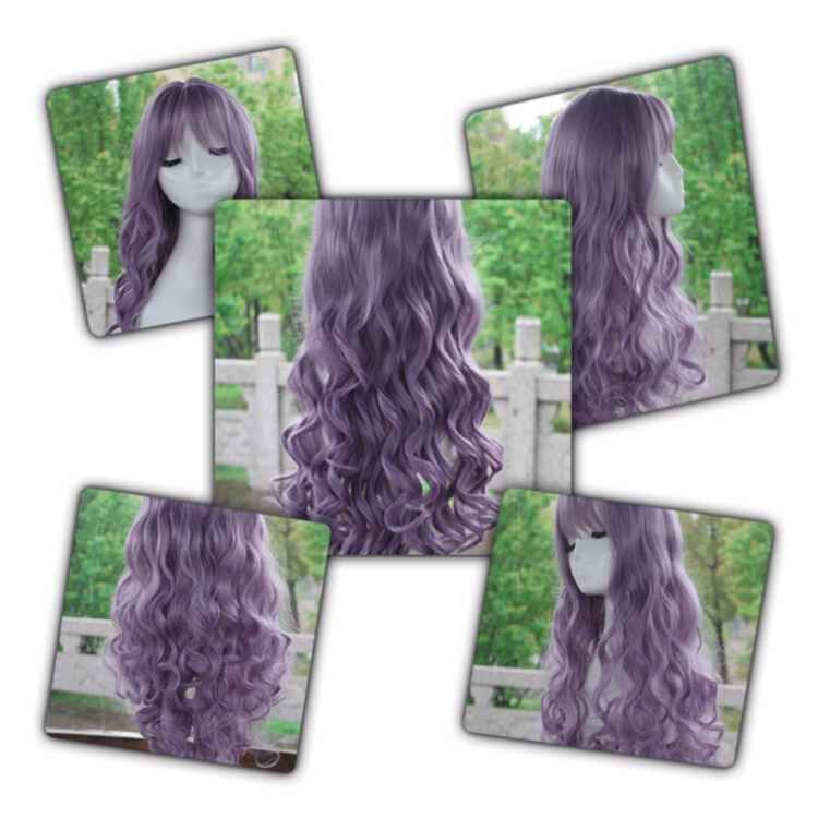 Sexy Long Wavy Curly Hairstyles With Bangs Cosplay Wig - purple