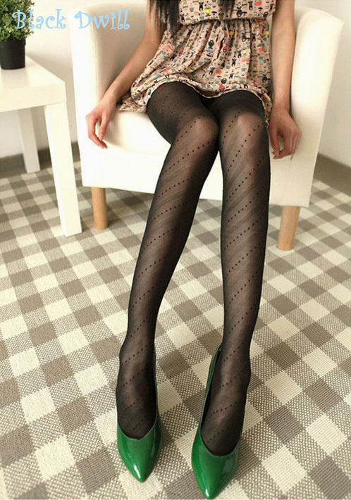 Sexy White Black Tattoo Pantyhose Cute Patterns Sheer Pantyhose Mock Stockings Tights - Black Dwill
