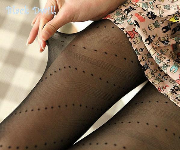 Sexy White Black Tattoo Pantyhose Cute Patterns Sheer Pantyhose Mock Stockings Tights - Black Dwill