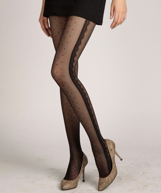 Sexy White Black Tattoo Pantyhose Cute Patterns Sheer Pantyhose Mock Stockings Tights - Black Eyelash