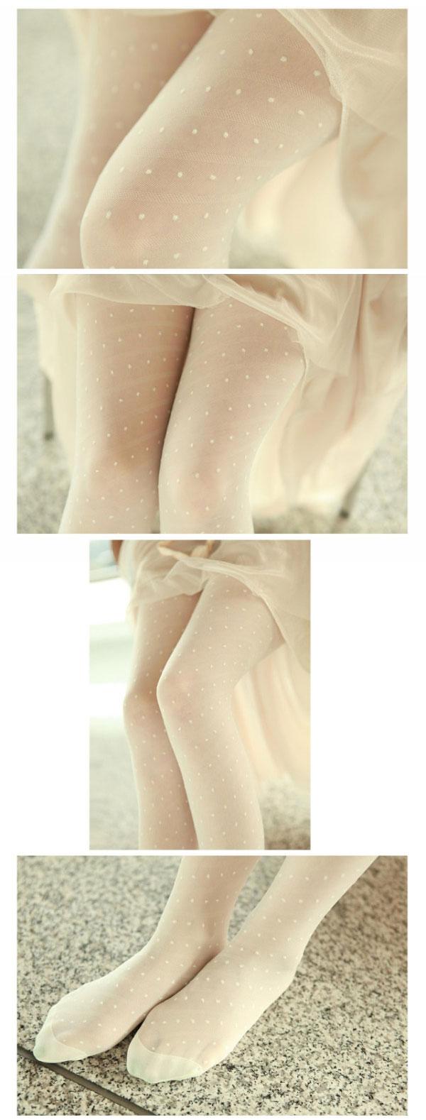 Sexy White Black Tattoo Pantyhose Cute Patterns Sheer Pantyhose Mock Stockings Tights - White Dwill