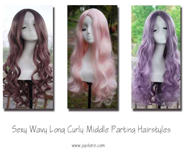 Sexy Wavy Long Curly Middle Parting Hairstyles Cosplay Wig