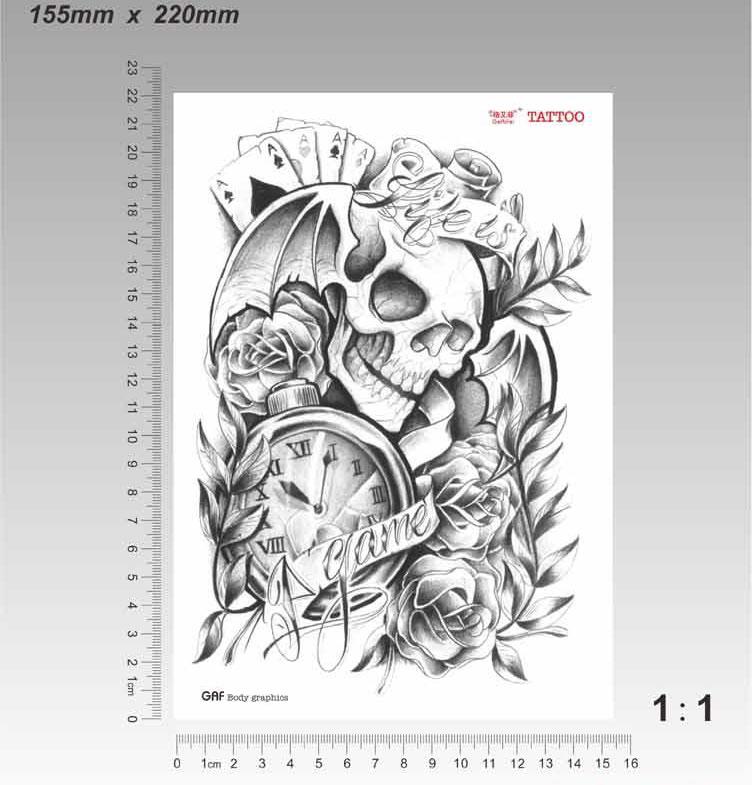 Skull Temporary Tattoo Sticker Skull Game Style