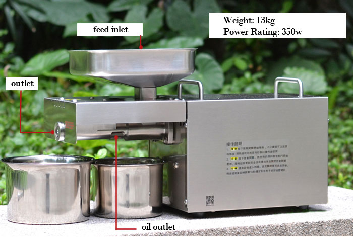 Stainless Steel Automatic Small Home Oil Press Machine Flaxseed oil / Peanut oil / Sunflower oil