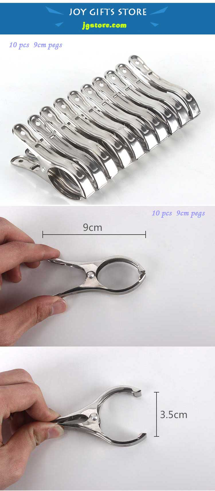 Stainless Steel Large Clothespin Pegs