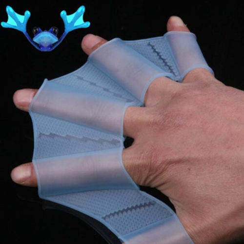 Swim Silicone Gear Fins Hand Webbed Flippers Training Paddle Dive Glove