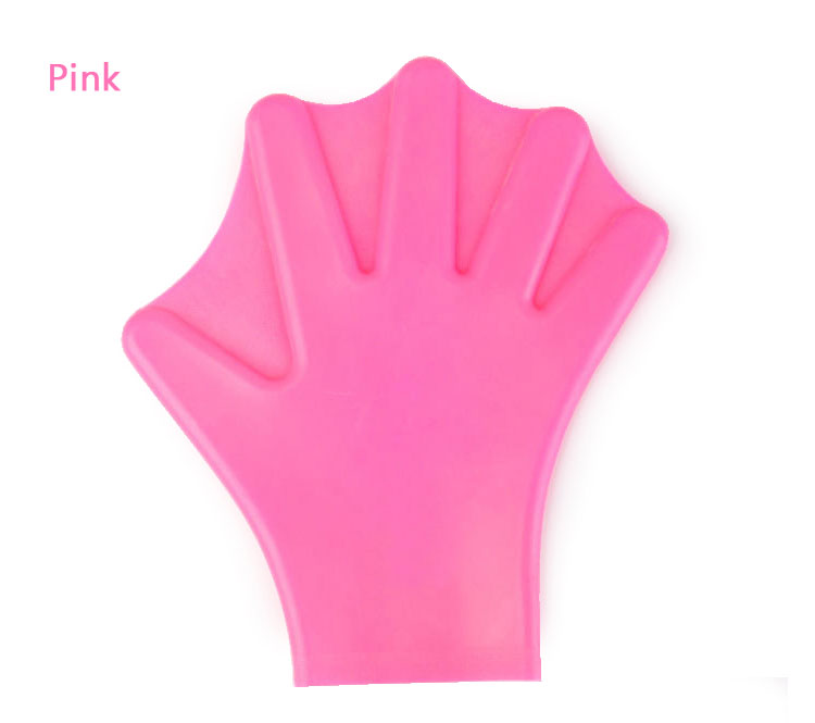Water Aerobics Silicone Swimming Webbed Glove Pink