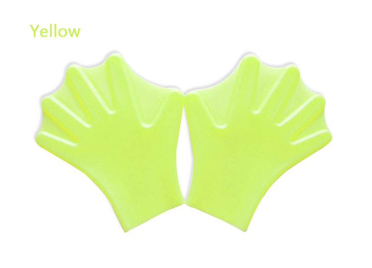 Water Aerobics Silicone Swimming Webbed Glove Yellow