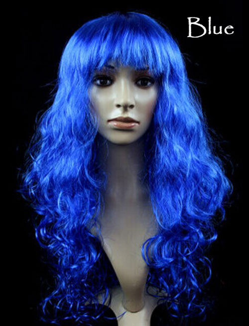 Women's Girl Cosplay Party Long Curly Full Wigs Oblique Bangs Hair - Blue