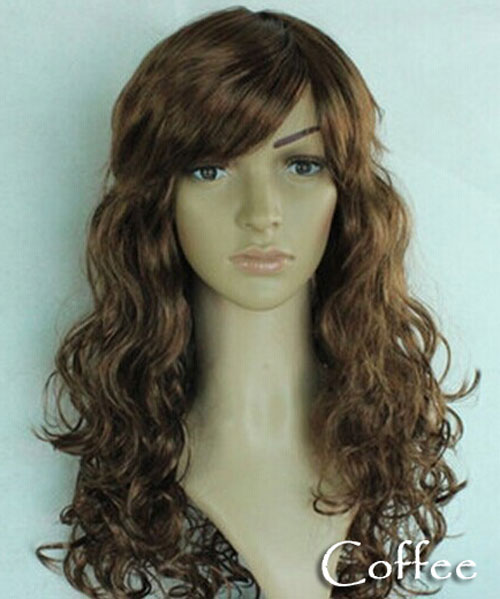 Women's Girl Cosplay Party Long Curly Full Wigs Oblique Bangs Hair - Coffee