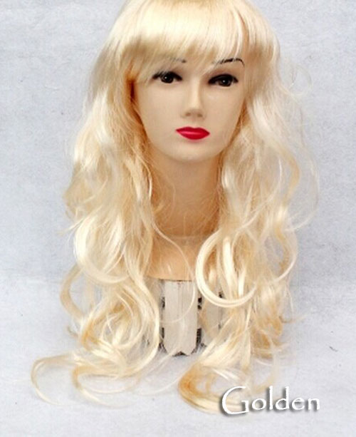 Women's Girl Cosplay Party Long Curly Full Wigs Oblique Bangs Hair - Golden