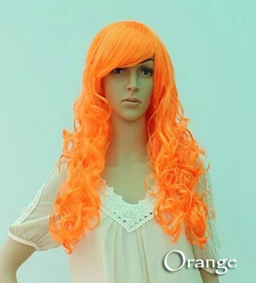 Women's Girl Cosplay Party Long Curly Full Wigs Oblique Bangs Hair - Orange