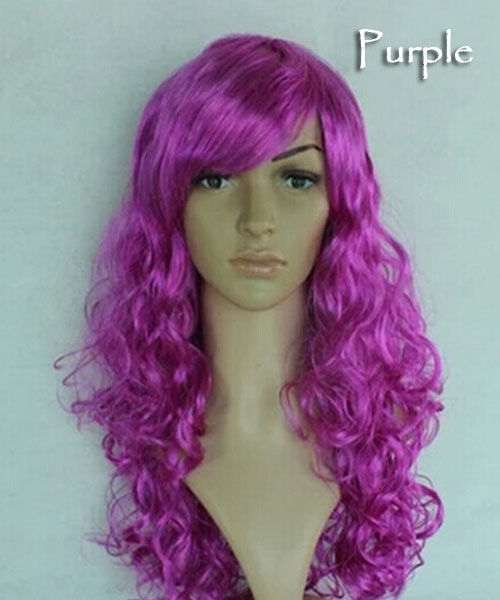 Women's Girl Cosplay Party Long Curly Full Wigs Oblique Bangs Hair - Purple