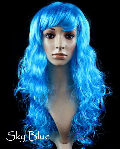 Women's Girl Cosplay Party Long Curly Full Wigs Oblique Bangs Hair - Sky Blue