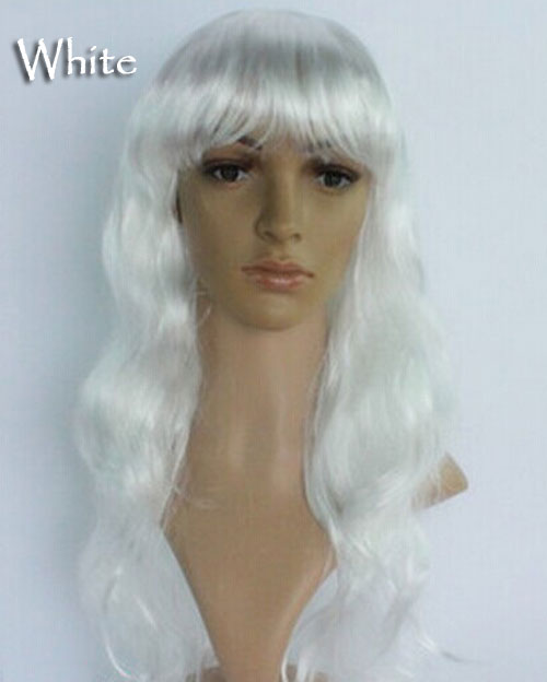 Women's Girl Cosplay Party Long Curly Full Wigs Oblique Bangs Hair - White