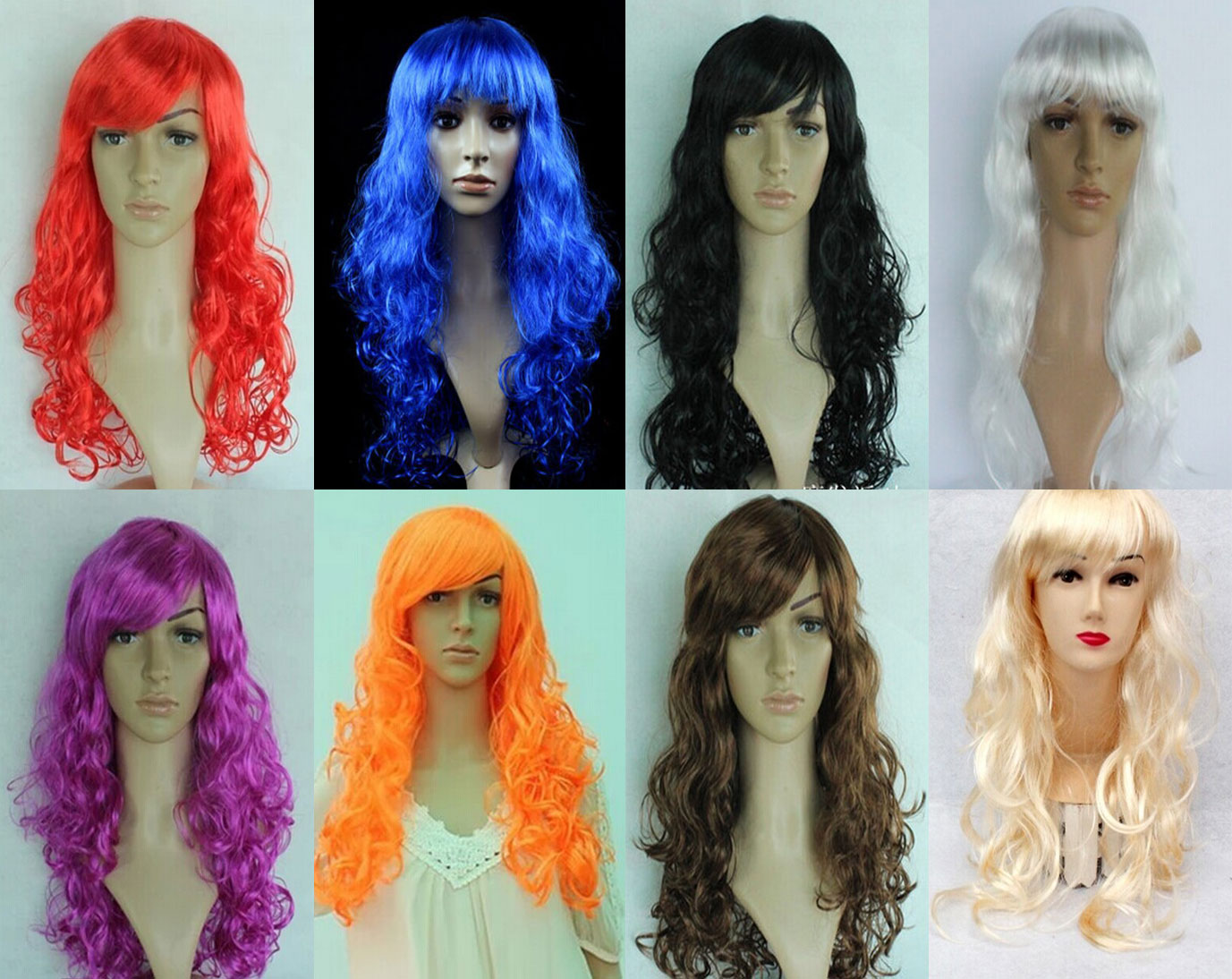Women's Girl Cosplay Party Long Curly Full Wigs Oblique Bangs Hair
