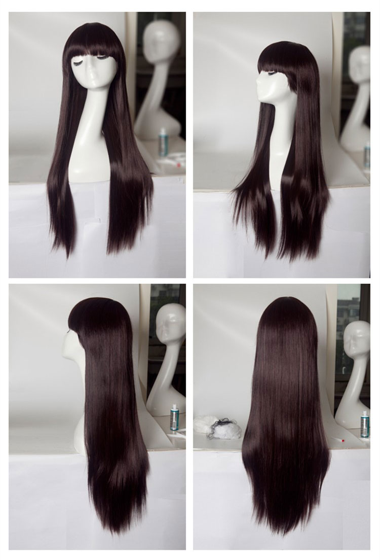 Womens Long Straight Style Full Wigs Black / Brown