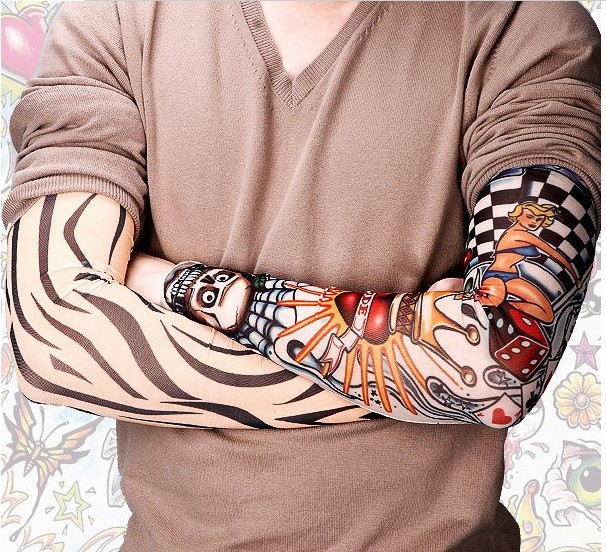 10 pcs Temporary Fake Slip On Tattoo Arm Sleeves Kit Motorcycle Tattoo arm Sleeves model