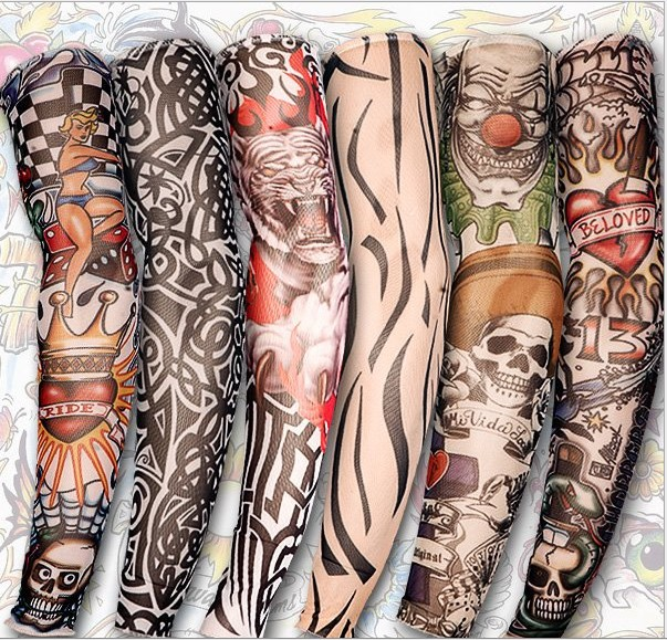 10 pcs Temporary Fake Slip On Tattoo Arm Sleeves Kit Motorcycle Tattoo arm Sleeves some