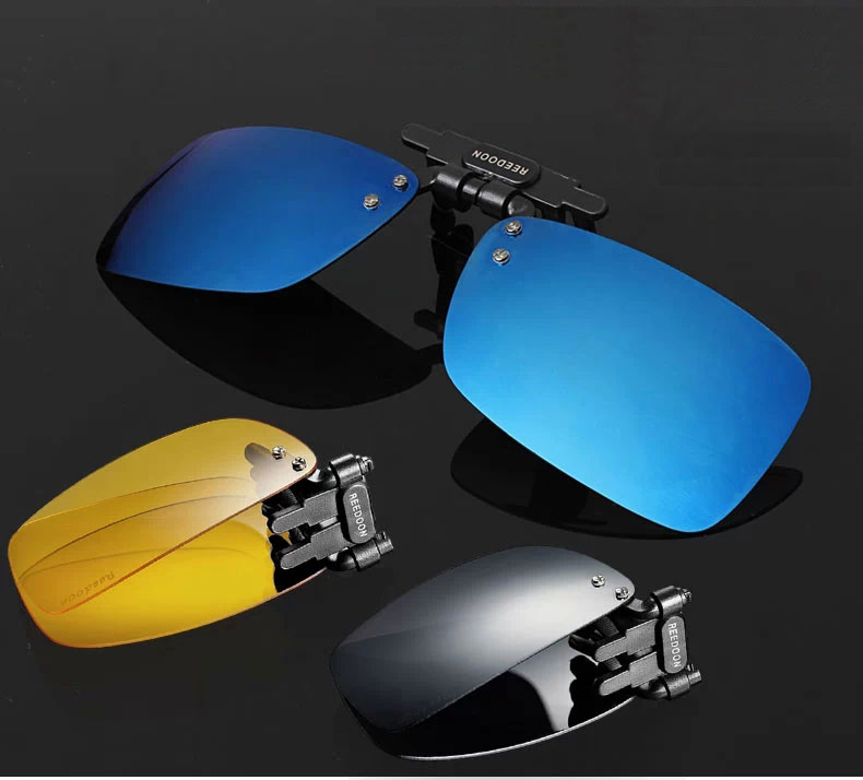 Blue Gray night vision polarized UV sunglasses clip Folding sunglasses clip