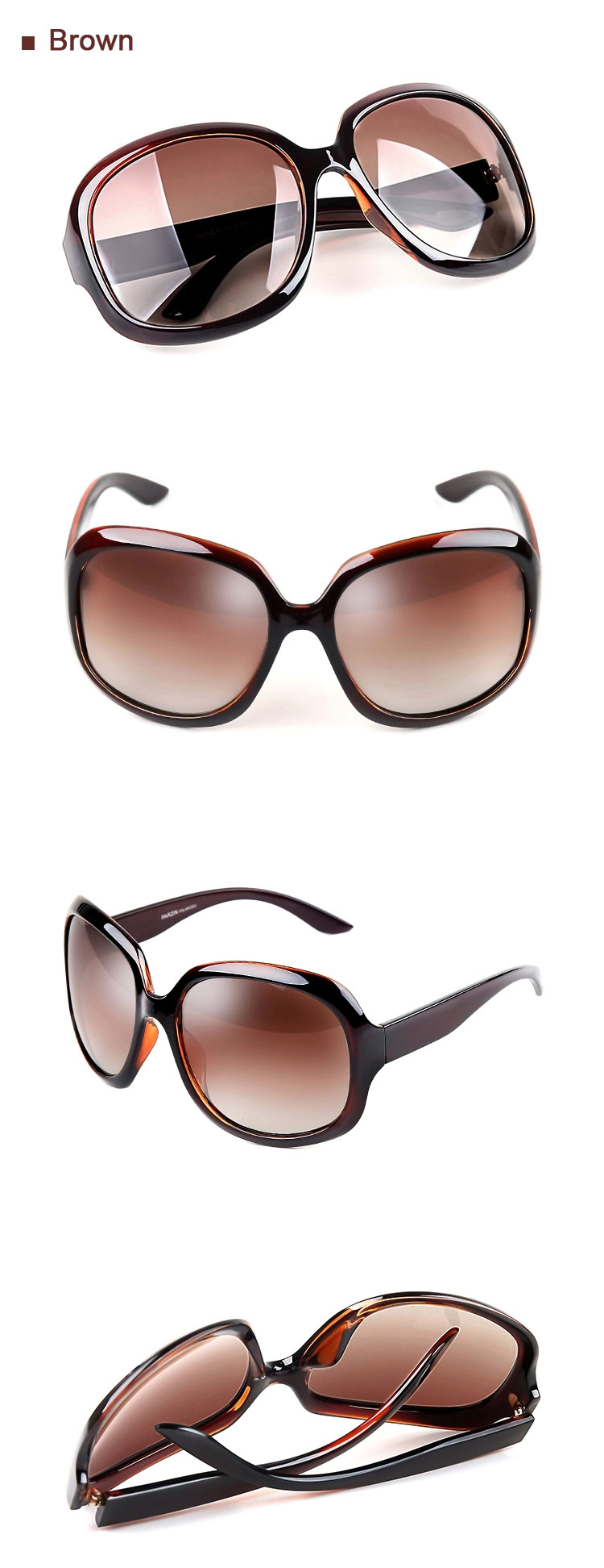 Brown Retro Oversized Sunglasses
