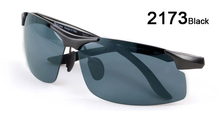 Half Frame Sunglasses Aluminum magnesium Alloy Frame Polarized Sunglasses 2173 black