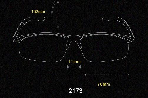 Half Frame Sunglasses Aluminum magnesium Alloy Frame Polarized Sunglasses 2173 size