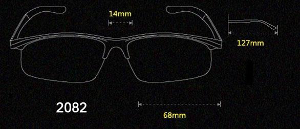 Half Frame Sunglasses Aluminum magnesium Alloy Frame Polarized Sunglasses size 2082
