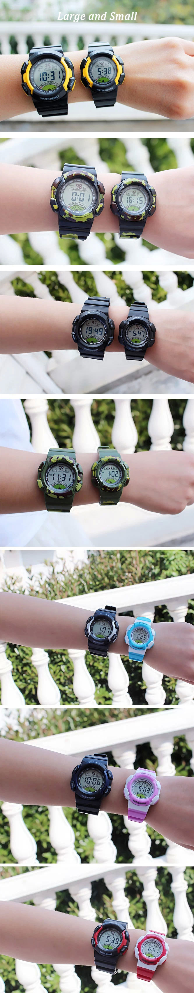 NEW Multifunction Sports Kids gifts Waterproof Electronic Watch large and small