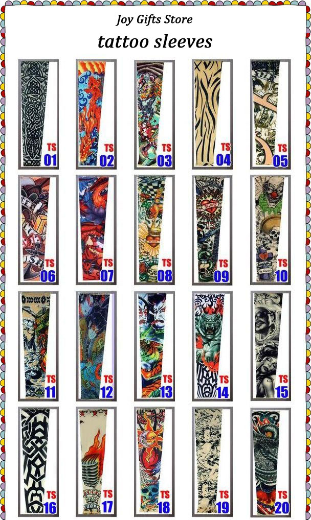 Temporary Fake Slip On Tattoo Arm Sleeves Kit Motorcycle Tattoo arm Sleeves 1