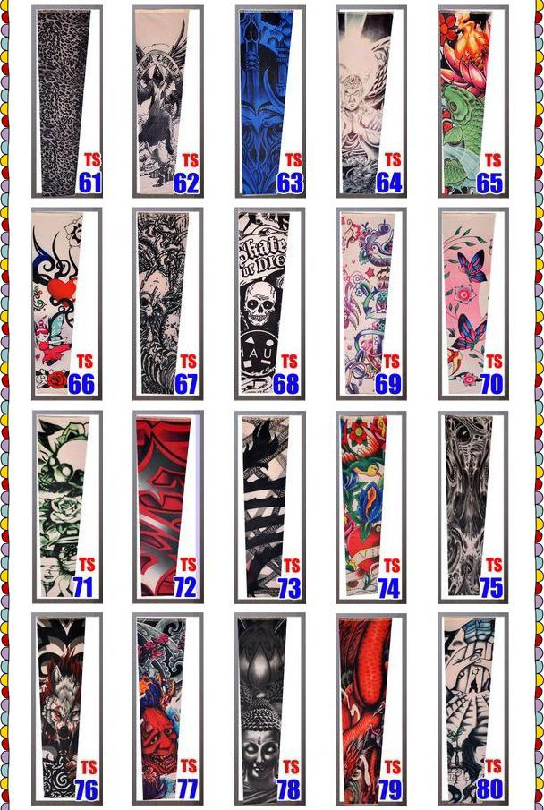 Temporary Fake Slip On Tattoo Arm Sleeves Kit Motorcycle Tattoo arm Sleeves 4