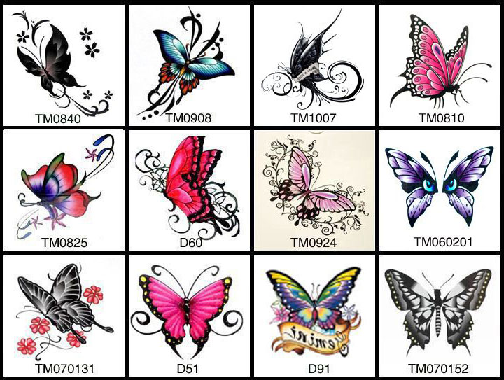 ladies butterfly temporary tattoos