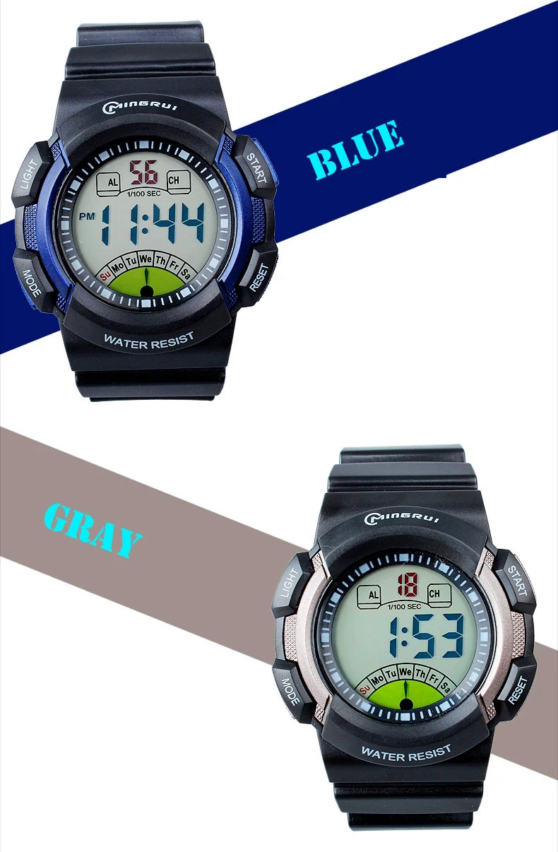 new multifunction sports kids gifts waterproof electronic watch large blue gray