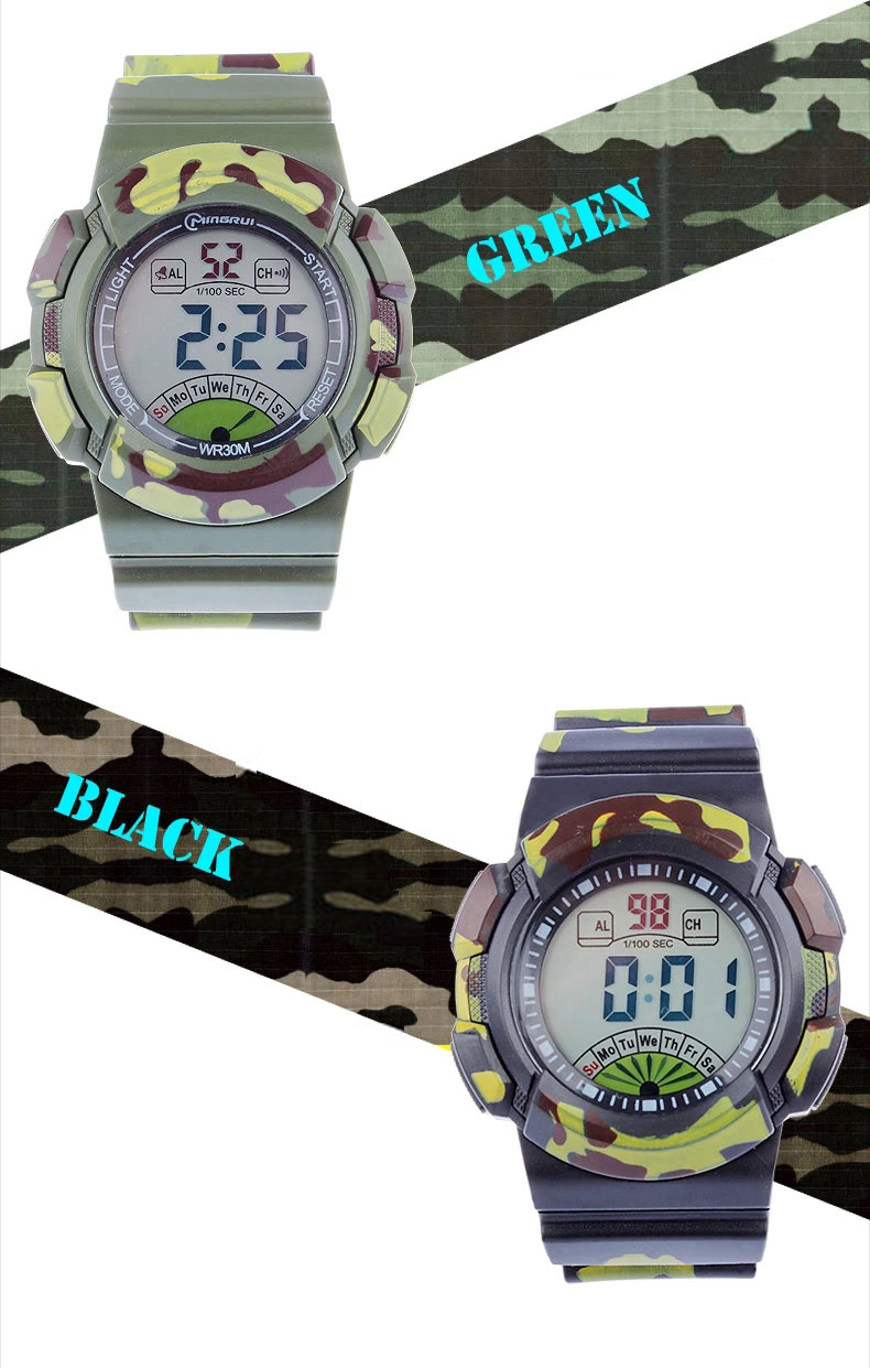 new multifunction sports kids gifts waterproof electronic watch large camouflage green black