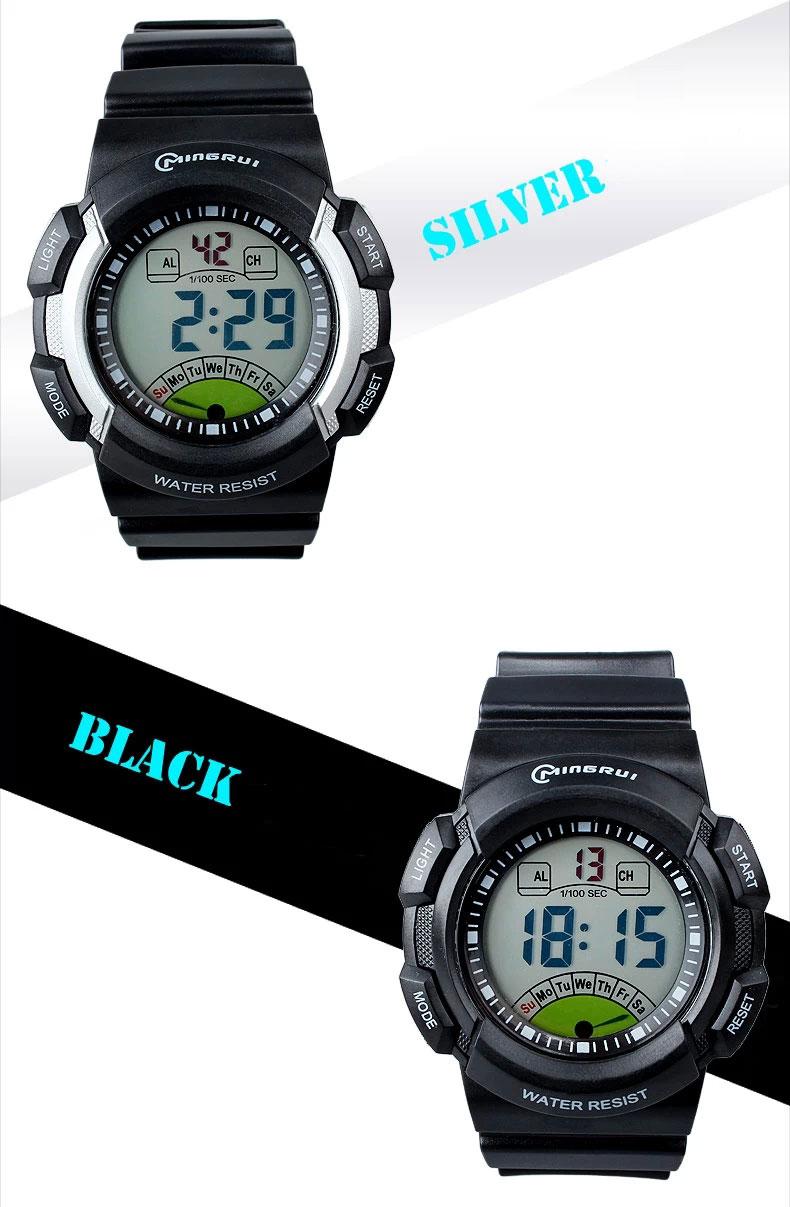 new multifunction sports kids gifts waterproof electronic watch large silver black