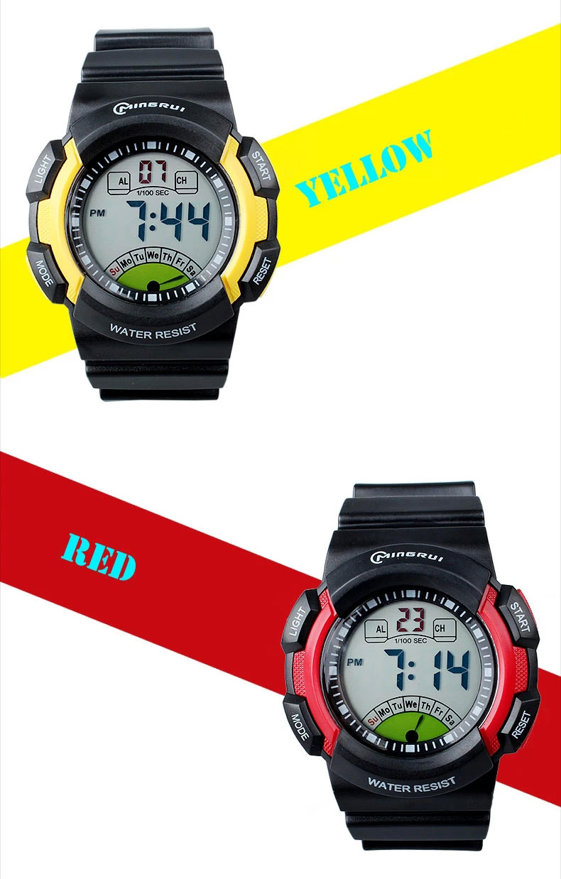 new multifunction sports kids gifts waterproof electronic watch large yellow red