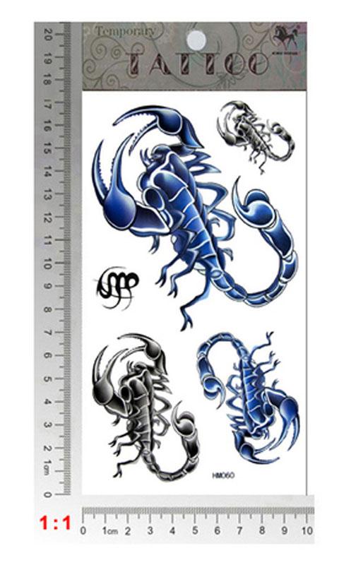 scorpion temporary tattoo body art size