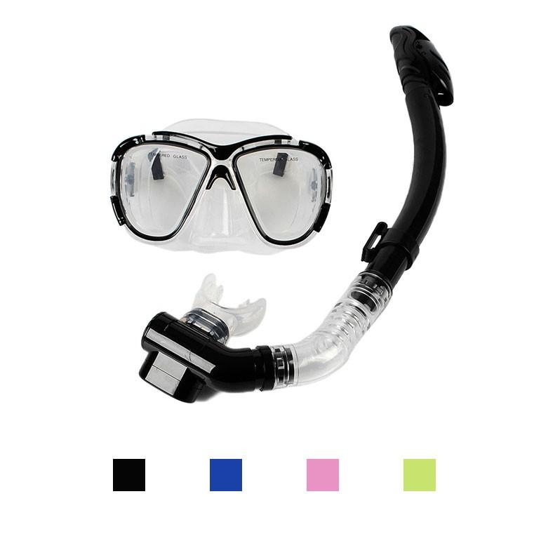 Two Window Scuba Diving Snorkeling Mask Dry Snorkel Water Sports Gear Combo Set