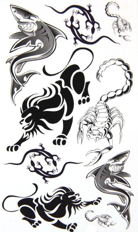 Lion Scorpion and Sharks Temporary Tattoos Sticker