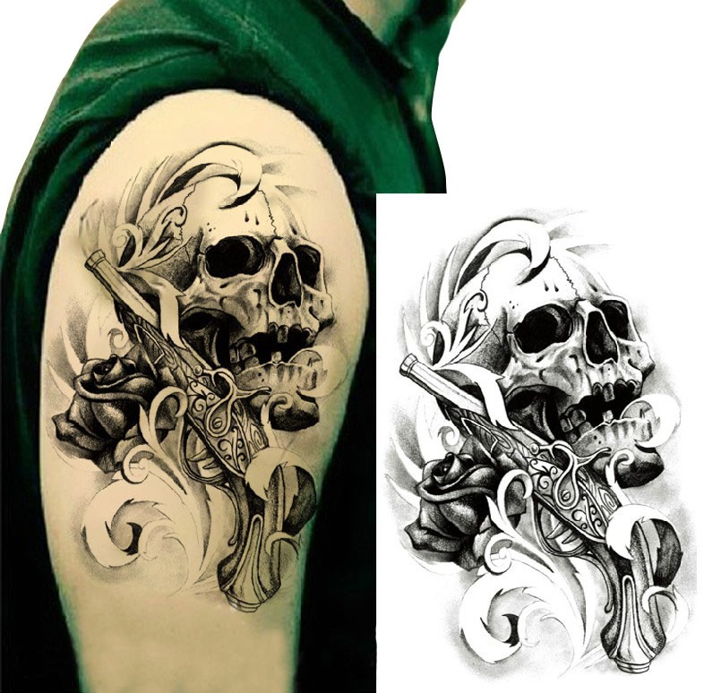 Skull, Gun and Rose Temporary Tattoo Sticker