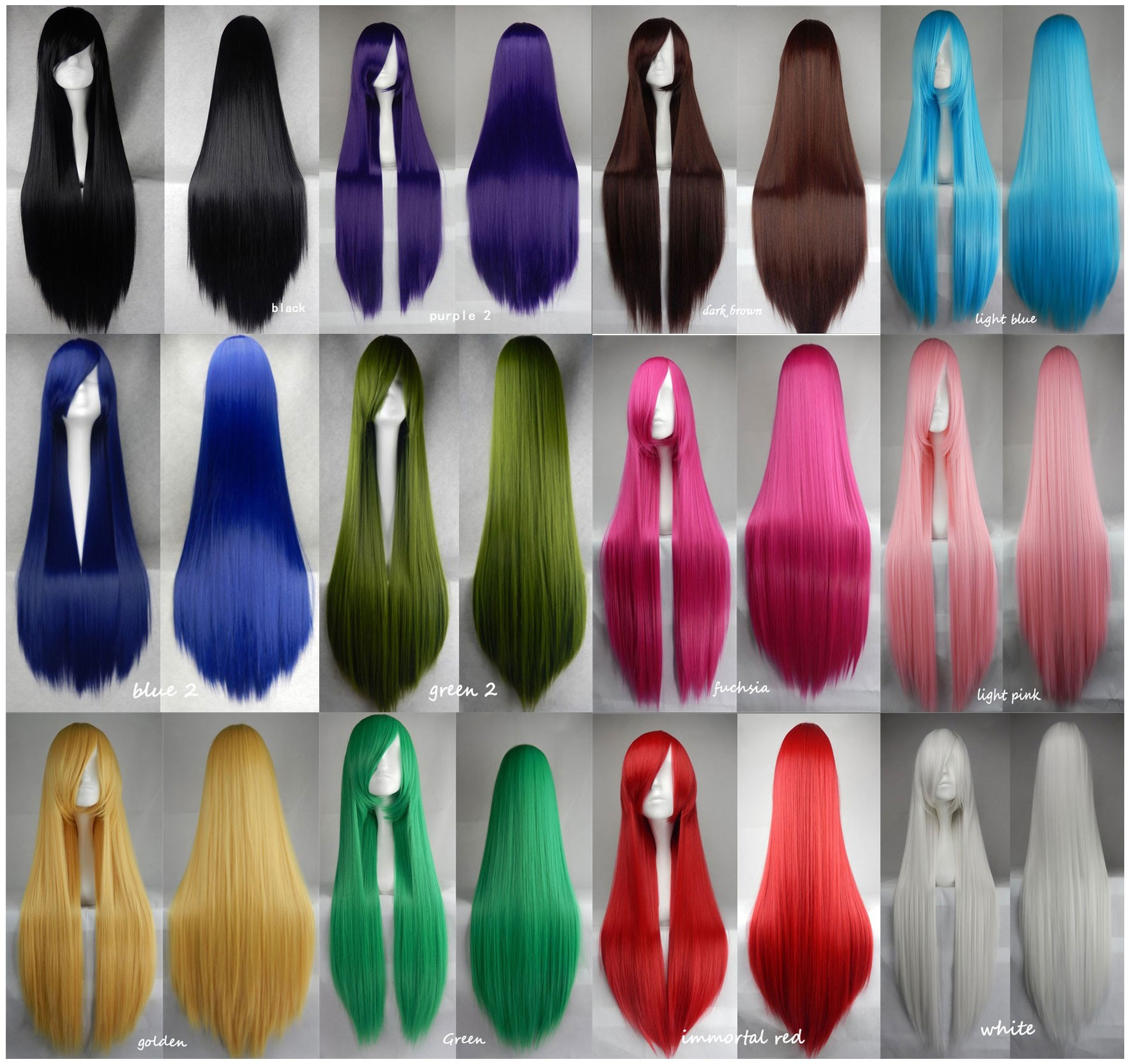 100cm Long Straight Anime Party Cosplay Full Wig + Wig Cap